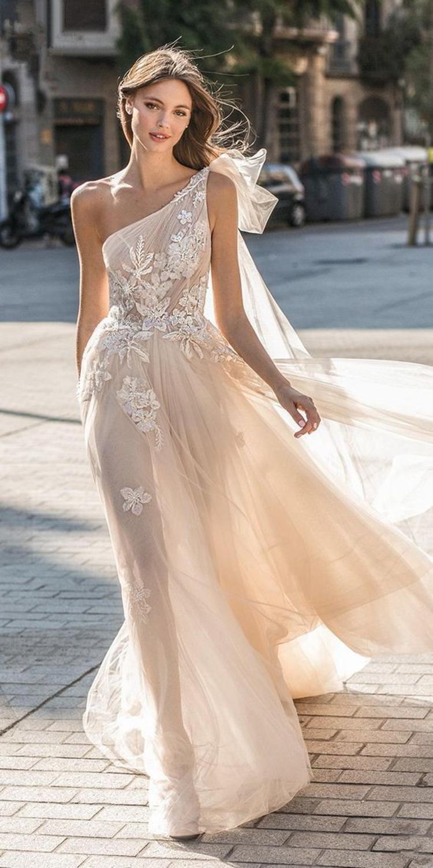One-shoulder 2019 Wedding Dresses A-line Tulle Lace Beach Backless Dubai Saudi Arabia Wedding Gown Bridal Vestido De Noiva
