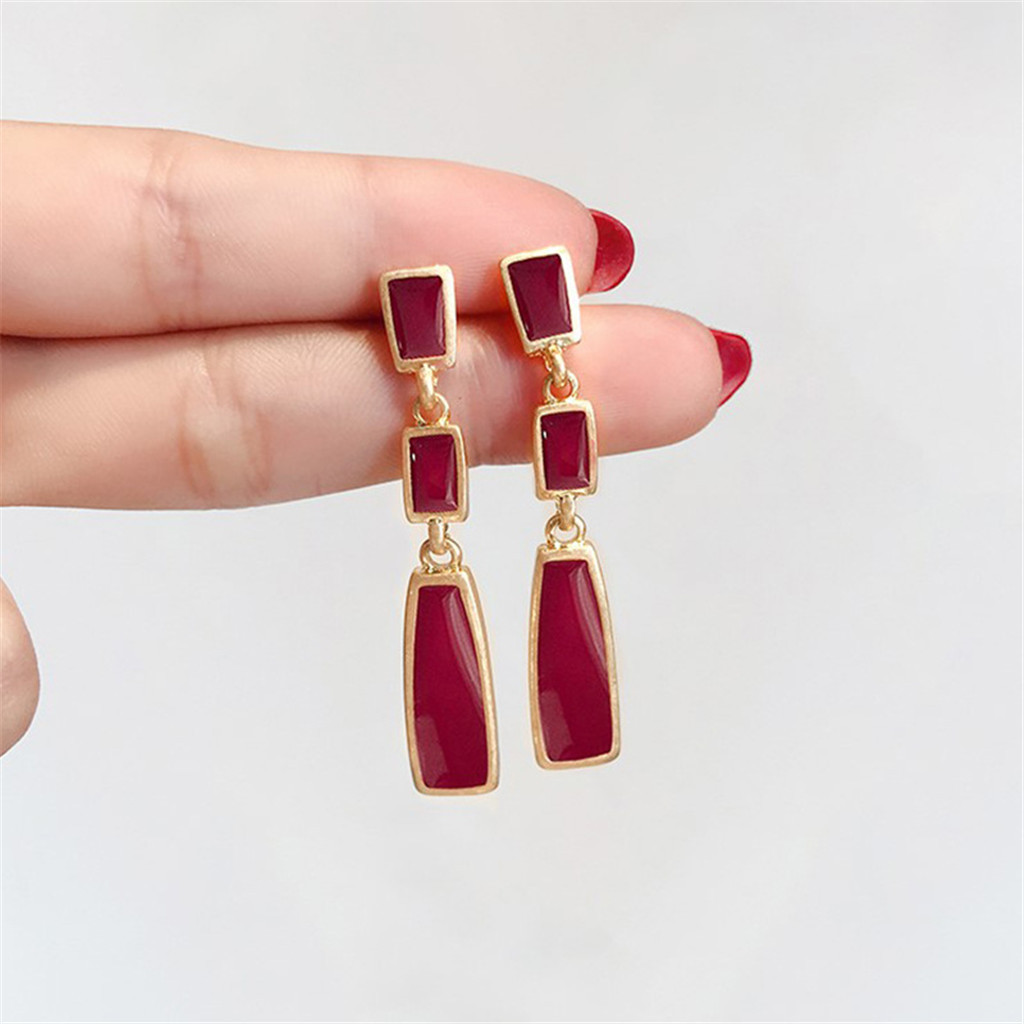 Modern Irregular <font><b>Long</b></font> Dangle <font><b>Earring</b></font> For <font><b>Women</b></font> Red Enamel Hanging <font><b>Earrings</b></font> Female Vintage <font><b>Sexy</b></font> Pendant Western Drop Hanging image