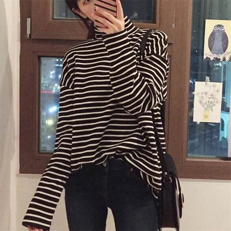 2020 Spring Autumn Women T Shirt Harajuku Simple Stripes Tshirt Long Sleeve Turtle Neck Slim T-Shirts Femme Black White Top Tees