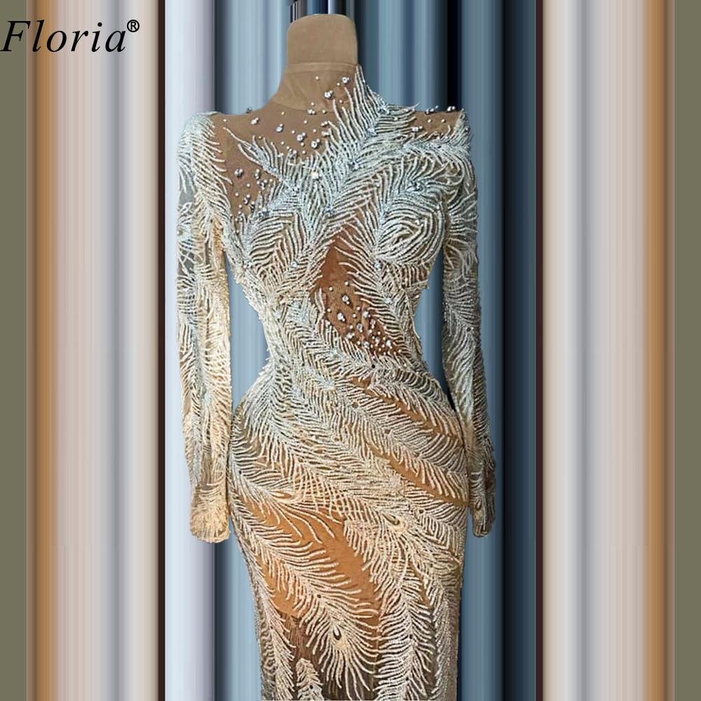 Robes De Cocktail Dubai Special Cocktail Dresses 2020 Floor Length Transparent Prom Dresses Party Women Long Evening Gowns