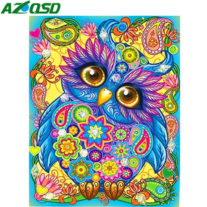 AZQSD Diamond Painting Owl Elephant Handmade Diamond Embroidery Cartoon Cross Stitch Gift Needlework