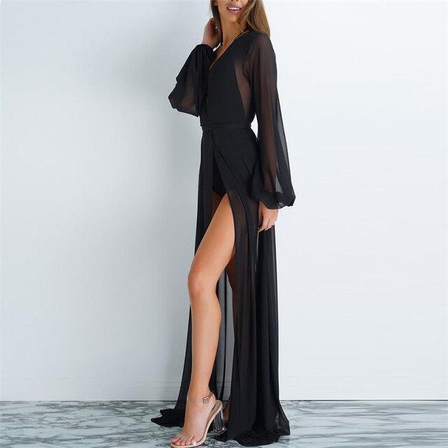 2020 Women Kaftan Beach Dress Mesh Long Bikini Sarong Cover Up Swimwear Beach Wear Bathing Bathing Suit Cover Ups Robe Plage 2