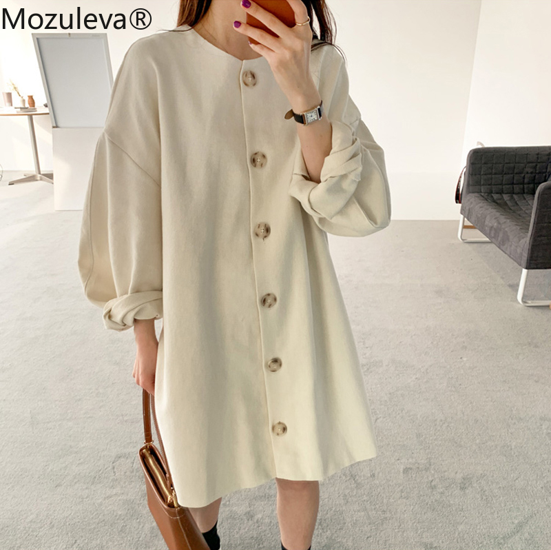 Mozuleva Minimalism Loose Solid Women Dress 2020 Summer Casual Vestidos Puff Sleeve O-neck Single-breasted Female Mini Dress