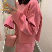 SMTHMA Women Long Sleeve Pullover Sweater And Bodycon Skirt Two Piece Set Office Wear Knitted Outfits Sweater Skirt Suit