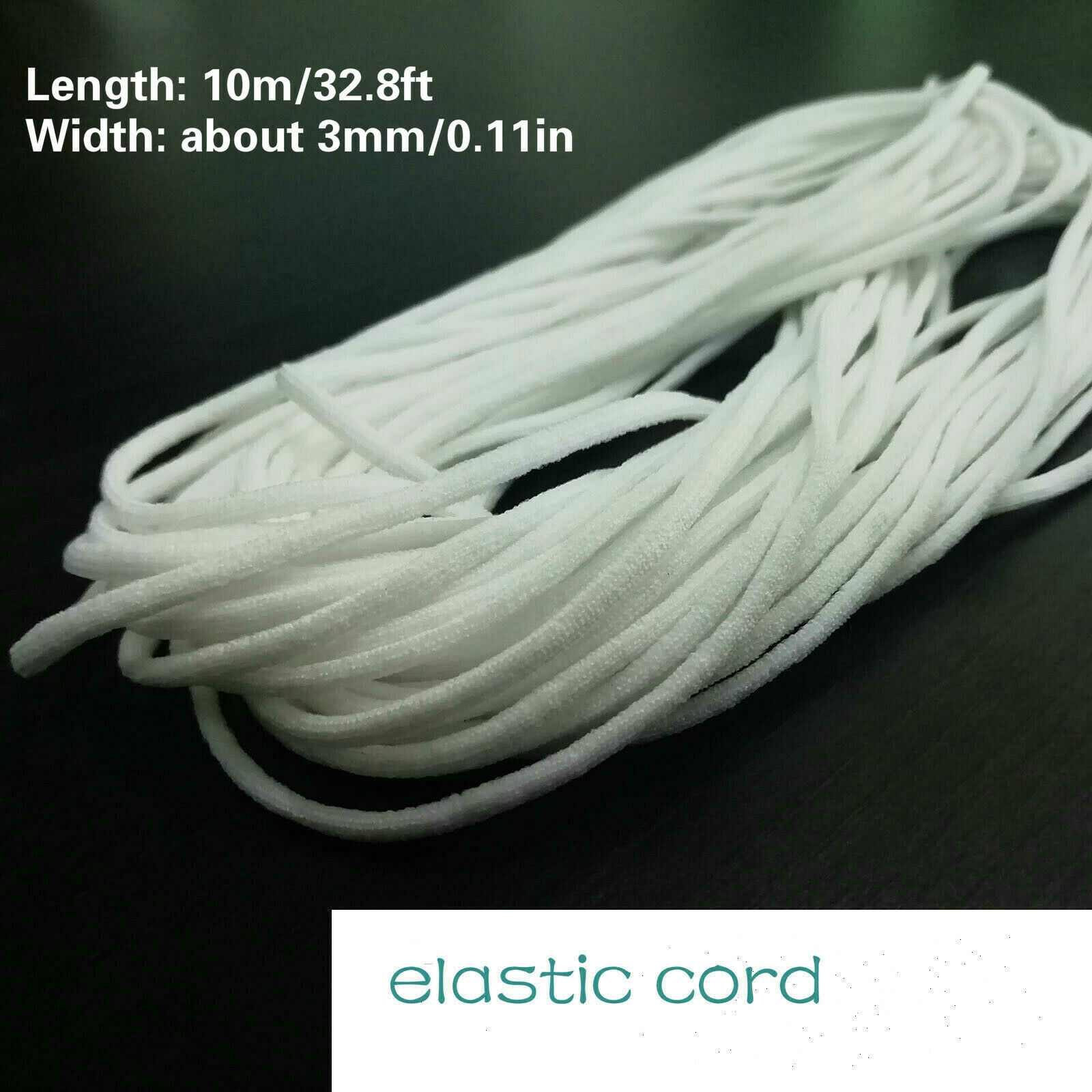 3mm Round Elastic Band Cord Ear Hanging Sewing Crafts DIY Clothing 10m Length