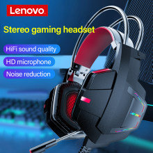 Lenovo HU85 Wired Headset USB2.0 Game Headphone HiFi Surround sound Colorful LED Headsets Volume adjustment with Mic