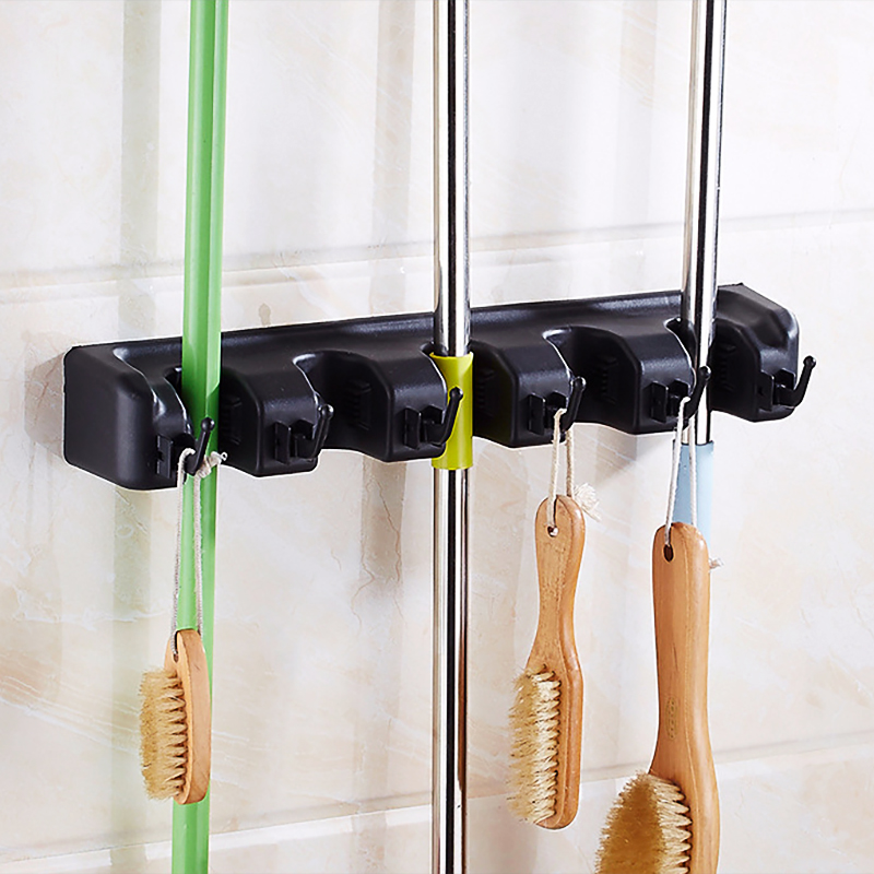 Plastic Wall Broom Holder With PP Hooks Used As Garden Tool And Garage Organizer