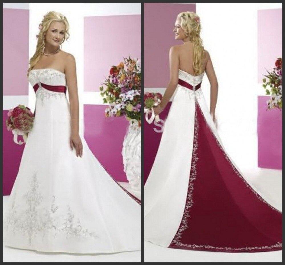 Embroideryed Satin White And Dark Red Bridal Gown Vestido De Novia Trouwjurk Brudekjole Hochzeitskleid Bridesmaid Dresses
