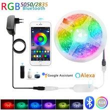 Bande lumineuse LED RGB 5050, 12V, 5M/10M, Bluetooth intelligent, fonctionne avec Alexa et Google Assistant, contrôle vocal, lampe de noël