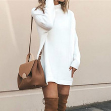 Women Long Sleeve Knitted Sweater Dress Solid Turtleneck Long Sweater Autumn Winter Casual Dresses Streetwear hamaliel high quality autumn and winter sweater long dress 2018 fashion solid long sleeve knitted v neck bodycon dress with belt