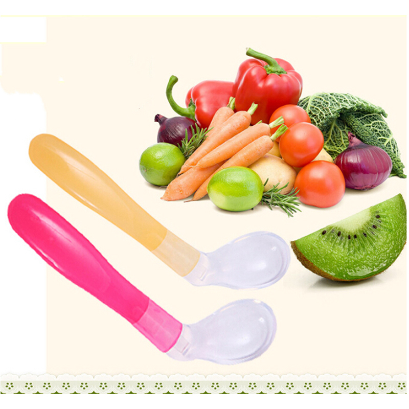 Solid 1pcs Baby Feeding Spoons BPA Free Soft Silicone First Stage Infant Kids Spoons Training Spoons 3 Color