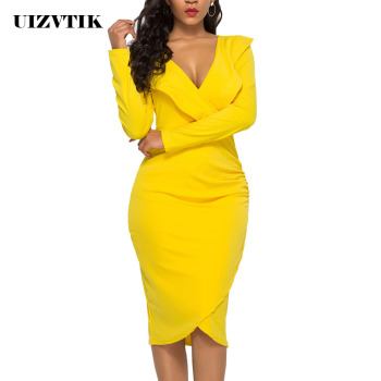 Sexy V Neck Ruffles Long Sleeve Autumn Summer Dress Women 2020 Casual Plus Size Slim Bodycon Dresses Vintage Elegant Party Dress plus size women half sleeve ruffles casual summer dress sexy o neck a line loose mini everyday dress sundress vestidos feminino