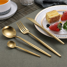 Gold 304 Stainless Steel Western Silverware Cutlery Set Noble Fork Knife Dessert Dinnerware Kitchen Food Tableware