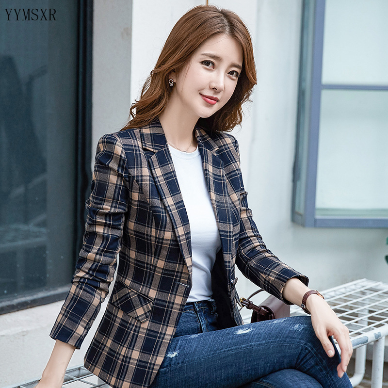 Autumn business plaid lady blazer coat feminine Casual Slim Long Sleeve Female Jacket fashion Small suit 2020 new
