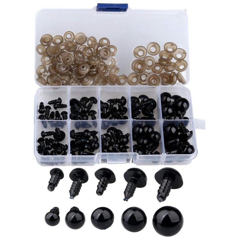 100 Pcs 6-12 Mm Plastic Safety Eyes, Black Safety Eyes Doll Making With 100 Pcs Washer For Toy Making DIY Crafts