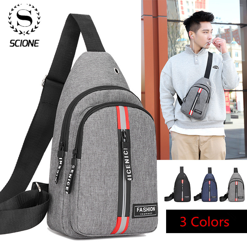 Scione Men Chest Pack Casual Sling One Shoulder Bagpack Multifunction Crossbody Bag Travel Back Pack Mochila Masculina Bolsas