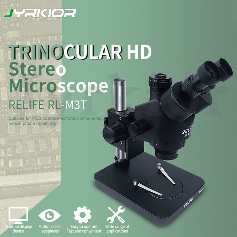 Relife 0.7-4.5X Trinocular HD Stereo Microscope Electronic HD Camera Microscope For Mobile Phone Motherboard PCB Board Repair