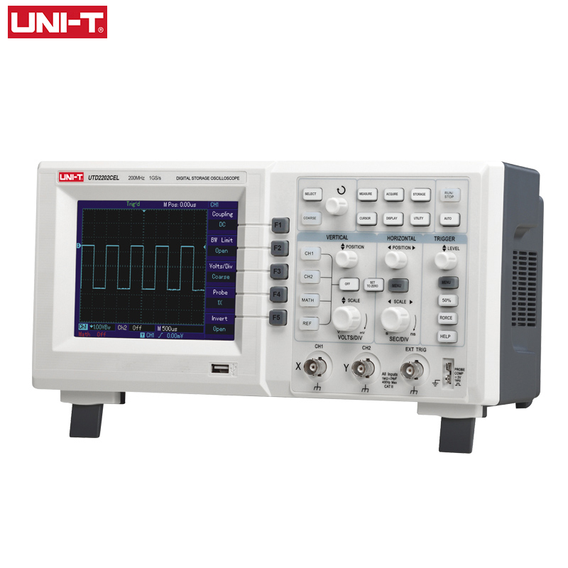 UNI-T <font><b>Digital</b></font> <font><b>Oscilloscope</b></font> USB UTD2202CEL Dual Channel <font><b>200Mhz</b></font> 1G Sampling Rate High Voltage Probe PC LCD Portable Osciloscopio image