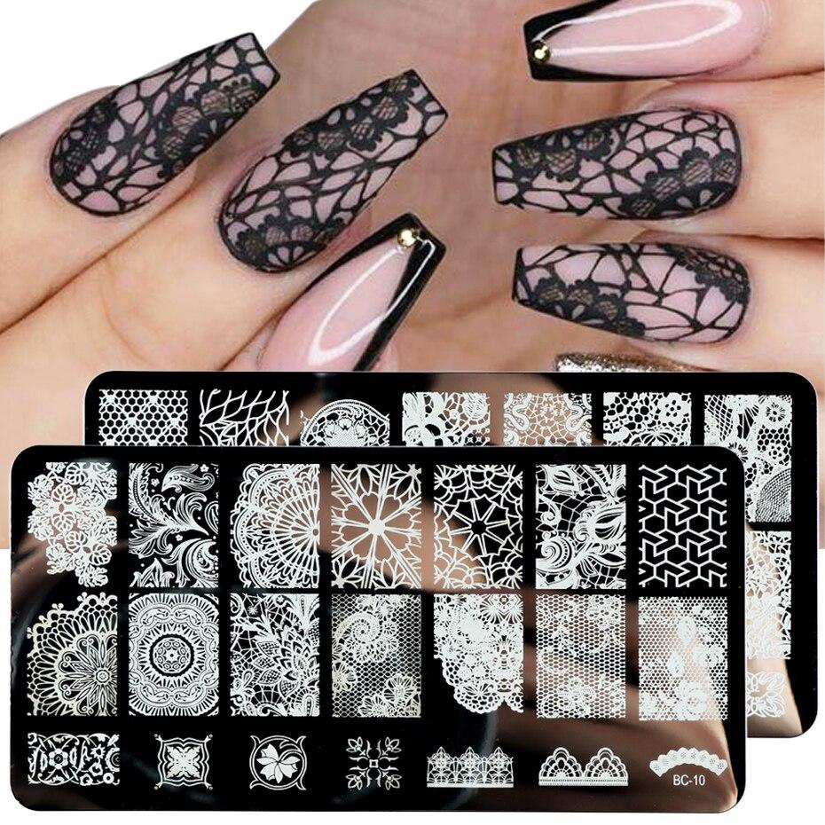 Кружева цветы ногтей штамповки пластины Мандала геометрический дизайн ногтей штамп шаблон лак печатные трафареты инструменты для маникюр...