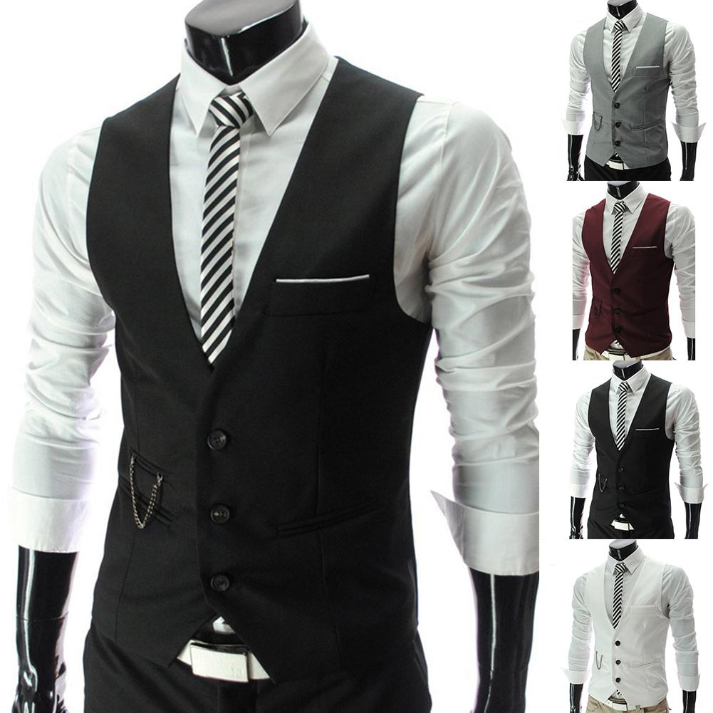 Fashion Men Vests Waistcoat Vest Solid Color V Neck Sleeveless Buttons Blazer Plus Size Formal Business Jacket Vests Male Gift