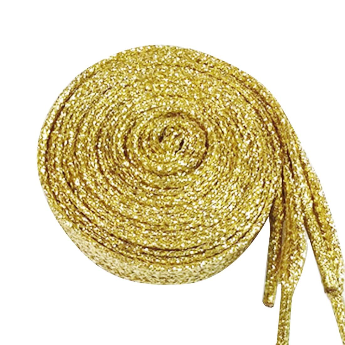 Double Flat Metallic Glitter Shoelace Canvas Sneaker Shoe Laces 1Pair 120cm Pearlized Colors  8 Colors