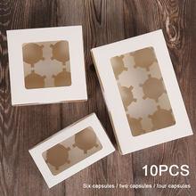 10 adet açık pencereli Cupcake kutuları çıkarılabilir tepsi ile 2/4/6 bardak kek parti noel gıda mutfak aksesuarları