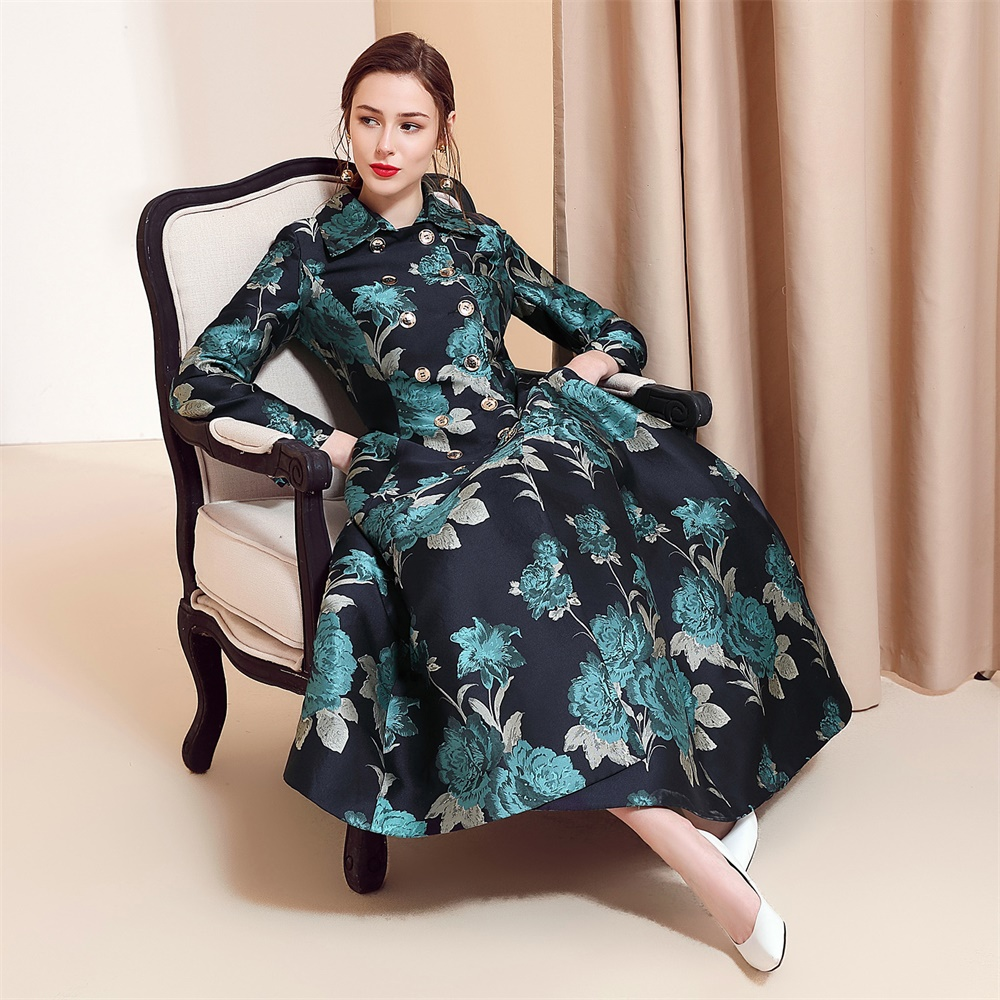 Women Double-breasted Trench Coat Autumn Flower Jacquard Vintage Swing Pendulum Trench Elegant Long Skirt Trenches Plus Size