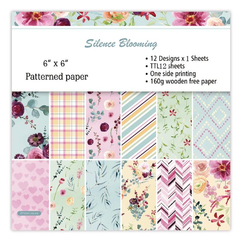 KLJUYP 12 Sheets Silence Blooming Scrapbooking Pads Paper Origami Art Background Paper Card Making DIY Scrapbook Paper Craft