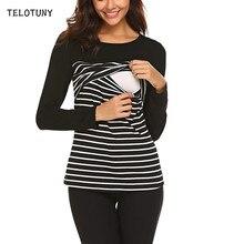 TELOTUNY Топы в полоску для беременных; Свободная блузка для беременных; футболка с длинными рукавами; Туника; Повседневная Блузка для беременных; Одежда для беременных; L0805
