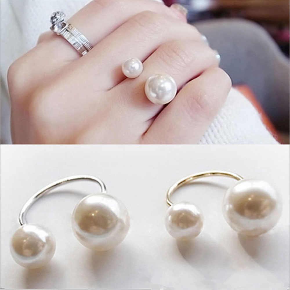 2019 חדש עזיבות חמות אופנה נשים של טבעת רחוב לירות אביזרי חיקוי פרל גודל מתכוונן טבעת פתיחת נשים תכשיטים