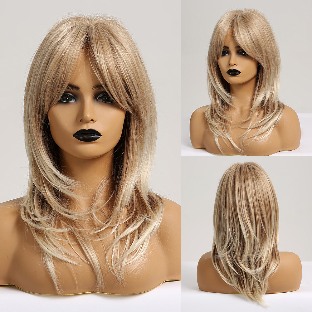 TINY LANA Medium Natural Straight Synthetic Wigs For Black Women African American Cosplay Wig Blonde Hair Wigs With Bangs