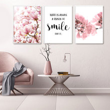 Poster Pink Wall-Picture Living-Room-Decor Painting Nordic Magnolia Scandinavian Floral-Print