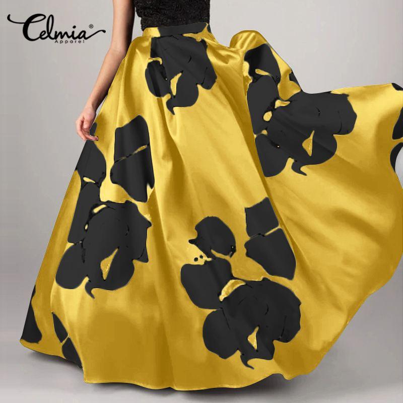 Bohemian Flower Printed Maxi Skirts 2021 Celmia Women Casual High Waist Long Maxi Skirts Elegant Party Beach Skirt Plus Size 5XL