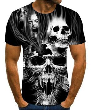 Summer mens T-Shirt New 3D printing t-shirt skull devil T-shirt Black round neck