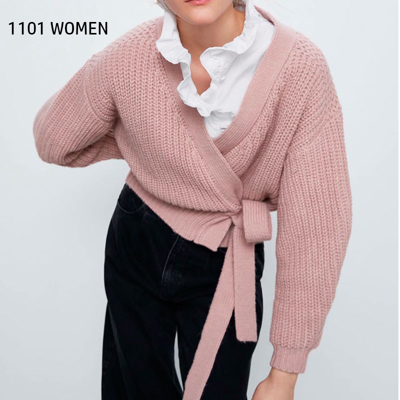 ZA NEW Women  Knitted Cardigan Sashes Tie  V-neck Solid Sweater Casual Loose Style Female Woman Clothes