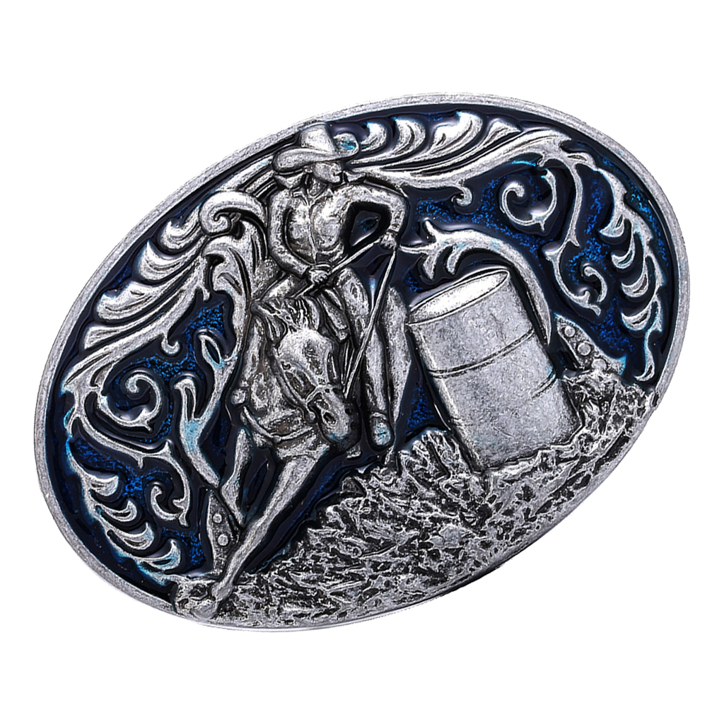Knight Pattern Belt Buckle Barrel Racing Western Cowboy Men Oval Belt Buckle