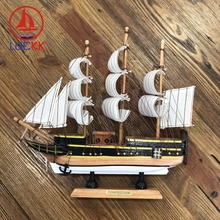 LUCKK 24CM Mediterranean Wooden Sailboat Figurine Retro Black Simulation Model Wood Crafts Vintage Ornament Room DecorFurnishing