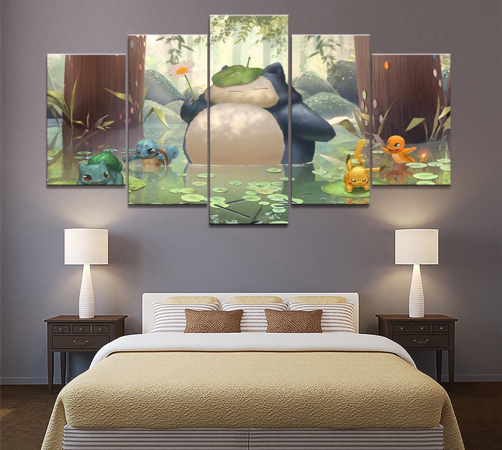 5 Piece Canvas Art Anime Poster HD Pictures Prints Modular Classic Cartoon Pokemon Game Living Room Decorative Painting Frame 2