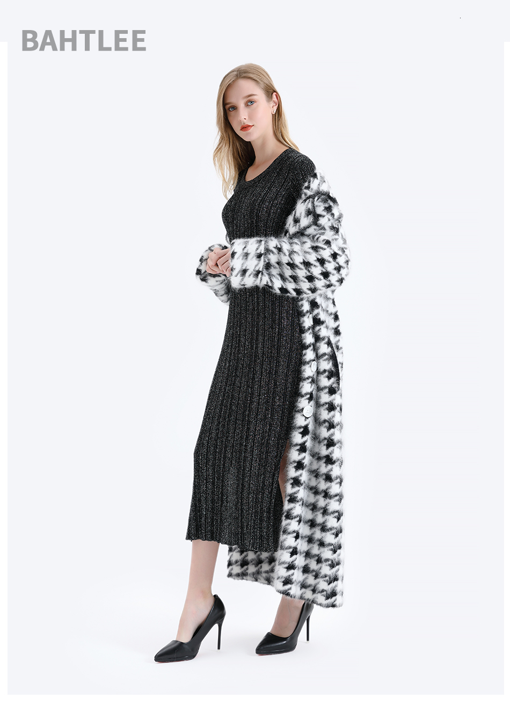 BAHTLEE Women Angora Long Coat Houndstooth Pattern Sweater Winter Wool Knitted Cardigans Jumper Turn Down Collar Long Sleeves 11