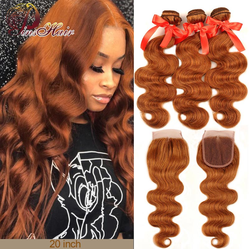 Honey Blonde Bundles With Closure 30 Colored Brazilian Body Wave 3 Bundle With Lace Closure Human Hair Weaves Pinshair Remy Hair
