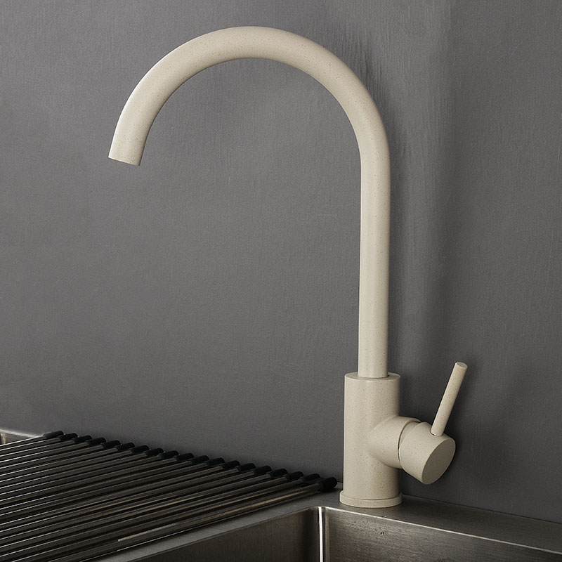 New Beige Kitchen Sink Faucet Mixer 360 Degree Rotation Water Tap Hot & Cold Water Mixer Stainless Steel Deck Mounted