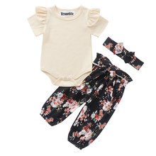 2020 Newborn Infant Toddler Baby Clothes Set Girls Cute Cotton Short Sleeve Solid Tops Bodysuit Floral Pants 3Pcs Baby Outfits 2020 baby clothing newborn baby girls autumn clothes flower lace floral solid dress bodysuit outfits jumpsuits