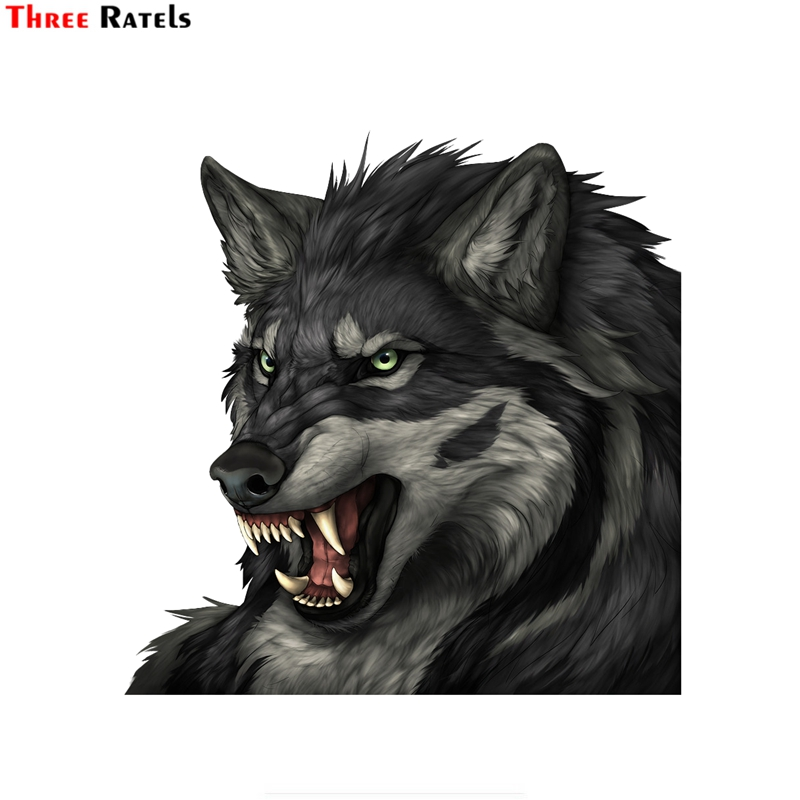 Three Ratels FTC-762# 14X14CM PVC Cool Gray Angry Wolf Window Wall Auto Motorcycle Car Sticker Decal