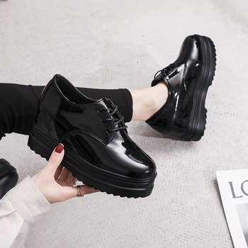 All-match single shoes, small leather increase in British new college style, autumn thick bottom X704