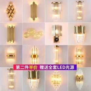 Image 1 - Moderna lampada da parete di cristallo oro sconce luci AC110V 220V moda di lusso lustro soggiorno camera da letto apparecchi di luce