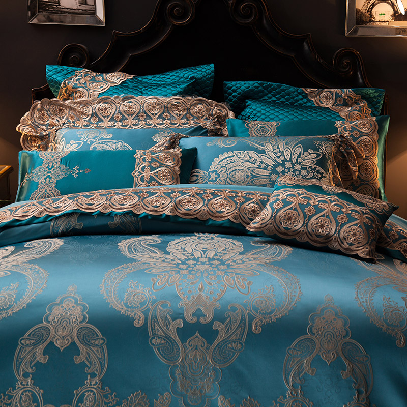 Svetanya Lace Collection Bedding Sets Queen King Size Artificial Silk Cotton Fabric Quilted Bedcover+Pillowcases+Quilt Cover