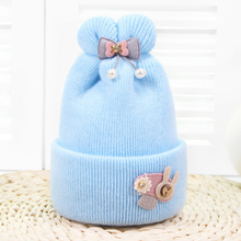 купить Cute Solid Peral Baby Hats Cotton Knit Wool Newborn Turban Beanie Warm Caps Soft Hat For Girls Boys Elastic Bonnet Autumn Winter дешево