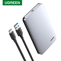 Ugreen HDD 케이스 2.5 6Gbps SATA to USB C 3.1 Gen 2 외장형 하드 드라이브 박스 알루미늄 케이스 HD For Sata 하드 디스크 SSD HDD 인클로저 HDD 인클로저    -