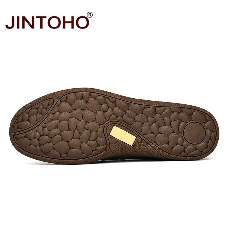 JINTOHO moda marka erkek ayakkabısı erkekler hakiki deri ayakkabı günlük erkek ayakkabısı erkek deri ayakkabı üzerinde kayma erkek mokasen ayakkabıları