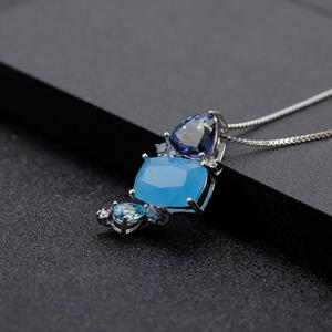 Image 2 - GEMS BALLET Natural Aqua blue Calcedony Gemstone Fine Jewelry 925 Sterling Silver Handmade Candy Pendant Necklace For Women